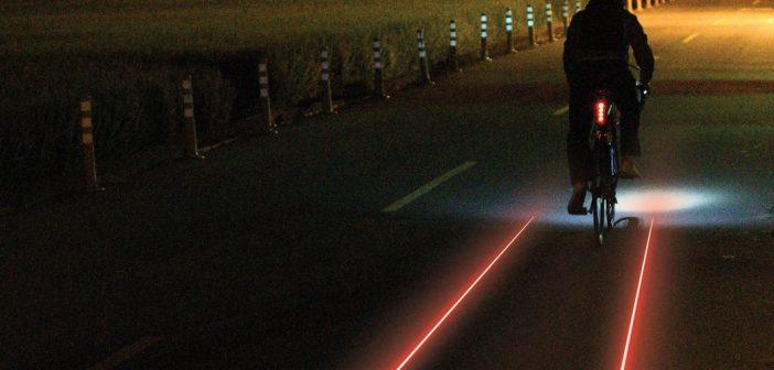 Veilig fietsen in het donker, met laser verlichting